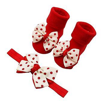 Baby Infant Socks +1pc Hair Belt, Toddler Bow Wave Point Anti-slip Socks