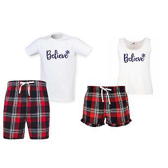 Believe Tartan Christmas Short Pyjama Couples Set