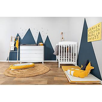 Gray White Star Embroidery Crib Sheets