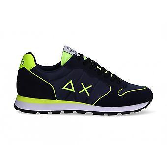 Running Sun68 Tom Nylon Fluo Suede Navy Blue Sneaker Us21su02 Z31102