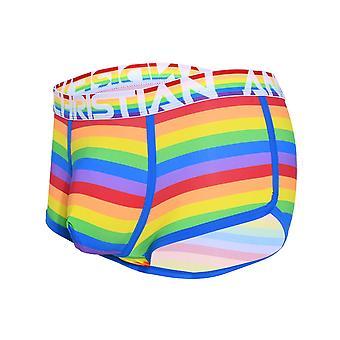 Andrew Christian Pride Stripe Boxer w / Aproape gol | Lenjerie de corp pentru barbati | Pantaloni scurți boxeri pentru bărbați