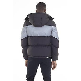Reflective Panel Black Padded Puffer Jacket