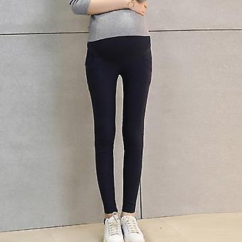 Kiinteät puuvillahousut, naisten korkea vyötärö säädettävä vyö modaalinen raskaus housut