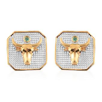 TJC Emerald Solitaire Stud Earrings Sterling Silver Birthday Gift 0.03ct