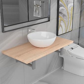 vidaXL 2-pcs. Bathroom furniture set ceramic oak brown