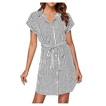 Women Sexy Stripe Mini Shirt-dress, Long Sleeve Loose Top, Shirt-dress