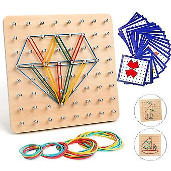 Holz Geoboard Spielzeug, Geometriebrett Montessori Form Puzzle Brett, Hlz Geoboard mit Aktivitts,