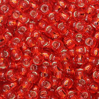 Tohon siemenet, kierros 8/0 #25B 'Hopea vuorattu Siam Ruby', 8 grammaa