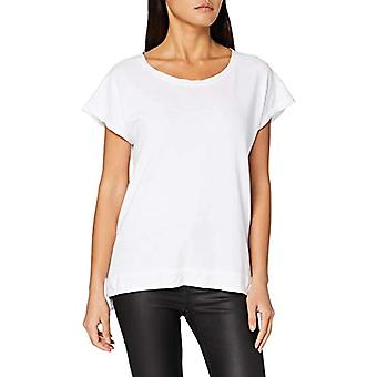 True Religion Wide Crew Camiseta de lino, Bianca, M Mujer