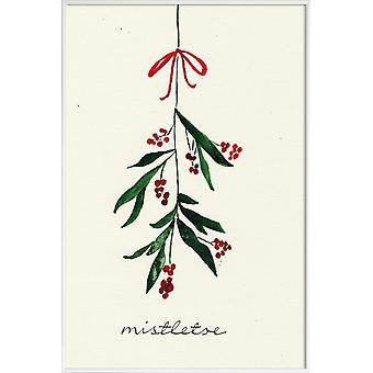 JUNIQE Print - Mistletoe - Christmas Poster in Cream White & Green