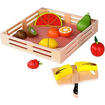 Taglio di frutta con set di gioco in legno basket