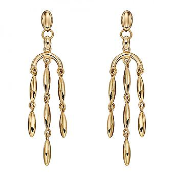 Elements Gold Cascading Yellow Gold Drop Earrings GE2376