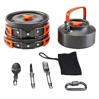 1 Ensemble portable Camping Pot Camping Théière utile Ustensiles de cuisine durable Cookware Cooking Pan For Camping Outdoor Bbq Kitchen (orange)