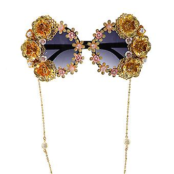 Hollow Exaggerated Ladies Eyewear Fashion Sunglasses Pearl Inlaid Shades Floral Decoration Sun Glasses