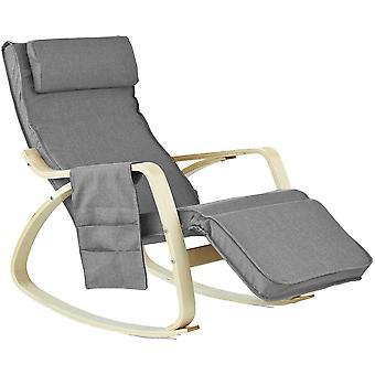 SoBuy entspannen Schaukelstuhl mit verstellbare Fußstütze Seitenkoffer, FST18-DG