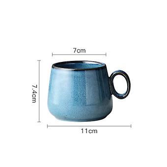 Ceramic Coffee Cup Japanese Retro Creative Ceramic Water Cup Nordic Luxurious Tea Cup (blue)