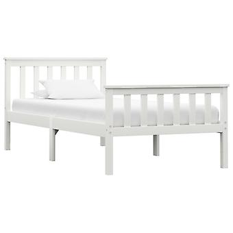 vidaXL sängyn runko Valkoinen massiivipuu mänty 100 × 200 cm