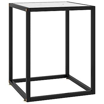 vidaXL Side table Black with white glass Marble look 40x40x50 cm