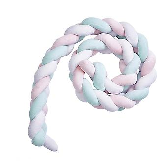 2 Meters Baby Crib Bumper Braided Head Protection Pillow Newborn Sleep Bumper(pink, Green And White)