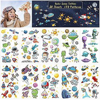Tattoo Kinder Weltraum Kindertattoos Planeten Sticker Alien Astronaut Rakete Weltraumparty Aufkleber