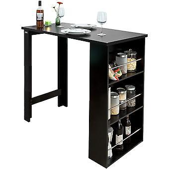 SoBuy Küche Esszimmer Bartisch mit 3-Tier-Speicher-Rack, schwarz FWT17-SCH