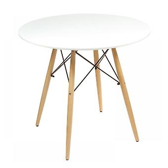Children's table around 60 cm – White with wooden legs – Round table