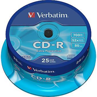 Verbatim CD-R 52 x 700 MB, 80 min / 25-Pack, Spindel, Extraschutz