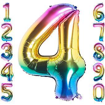 40 Zoll Riesen Helium Folie Nummer 0 bis 9 Regenbogen Ballon Geburtstag Hochzeitsfeier Digitale Dekorationen