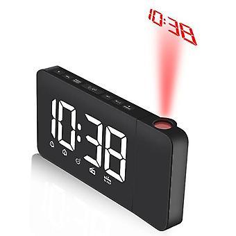 Koolmei led digitaalinen seinään asennettu projektori herätyskello projektori kello fm radio sininen aika projektori