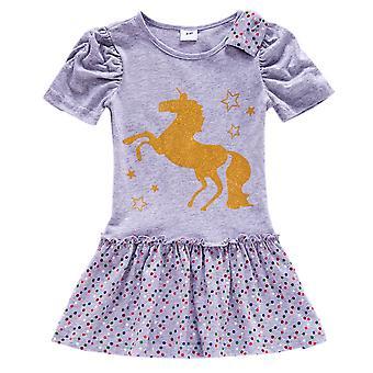 Deti Dievča Jednorožec Tlač tričko Šaty s krátkym rukávom Letné mini šaty