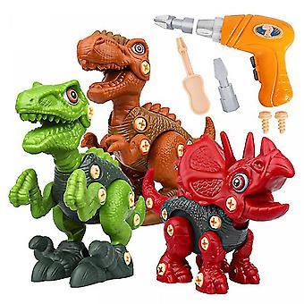Démonter les jouets de dinosaures pour les enfants - Jouets de tige pour les garçons éducatifs 3 paquets de jouets de dinosaures avec perceuse électrique pour les cadeaux d'anniversaire de Pâques enfants filles