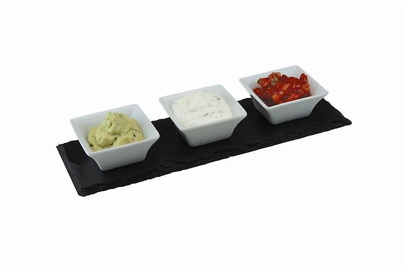 Slate Meze Set with 3 Porcelain Bowls