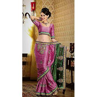 Dayanita dyb Pink Faux Crepe luksus part bære Sari saree