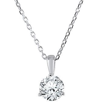 1/4 ct Solitaire Diamond Pendant available in 14K and Platinum
