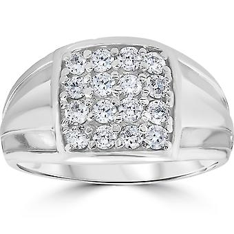 1 cttw Diamond Mens Ring 10k White Gold