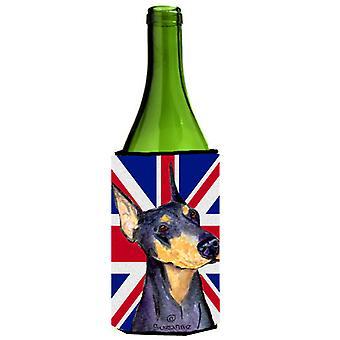 Doberman con inglés Union Jack británico bandera botella de vino bebidas aislador abrazo