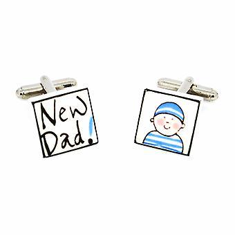 Sonia Spencer novo pai - menino abotoaduras - porcelana inglesa mão Crafted abotoaduras
