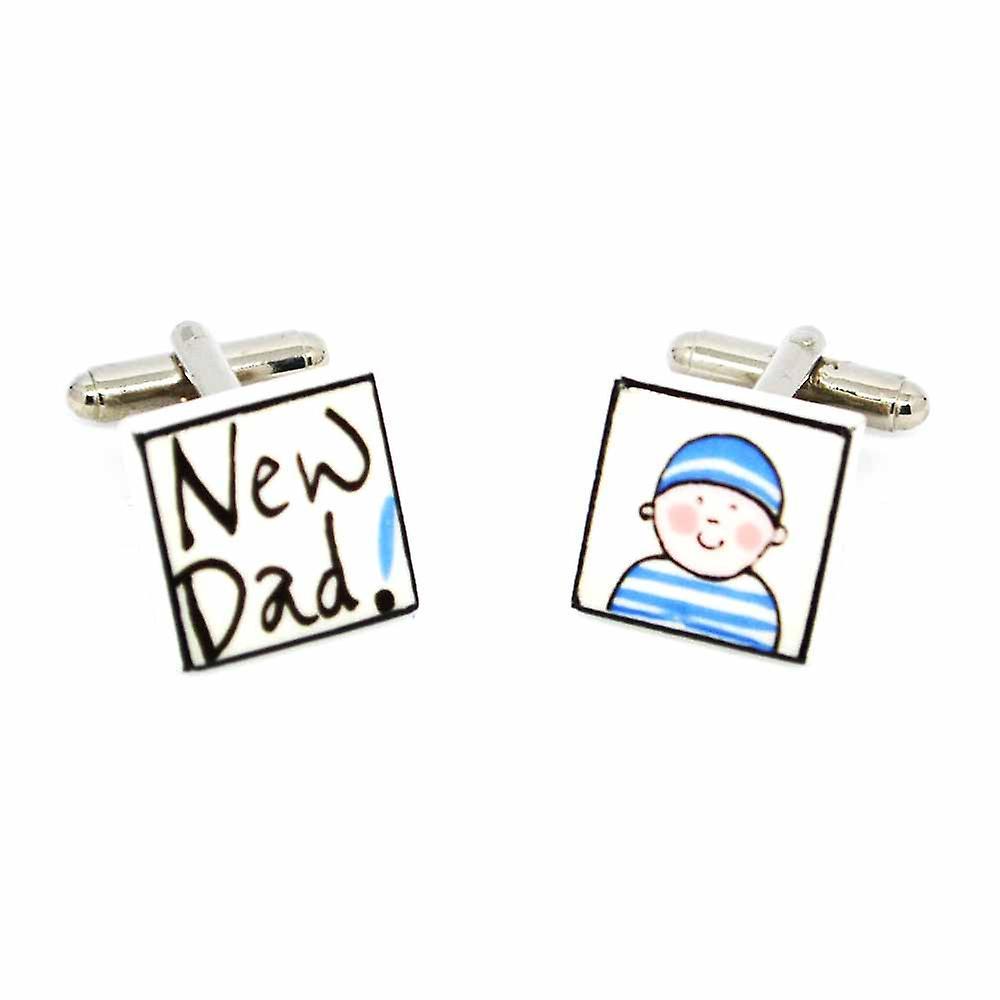 Sonia Spencer New Dad - Boy Cufflinks - English Bone China Hand Crafted Cuff Links
