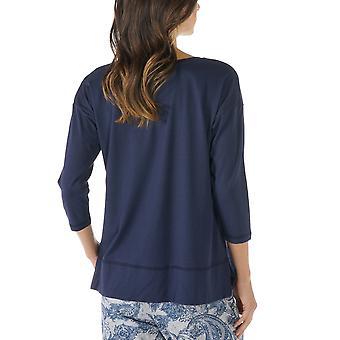 Mey 16806-408 Women's Night2Day nacht blauw effen kleur Pajama 3/4 mouw pyjama's Top