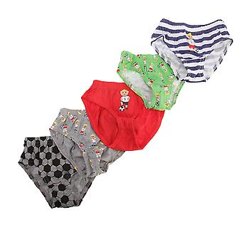 Childrens/Boys Football/Star Design Cotton Briefs (Pack Of 5)