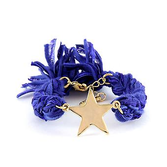 Ettika - Bracelet yellow gold star and cotton ribbons braided purples