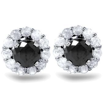1ct schwarzer Spinell Stollen & Diamond Halo Ohrring Jacken 14K White Gold