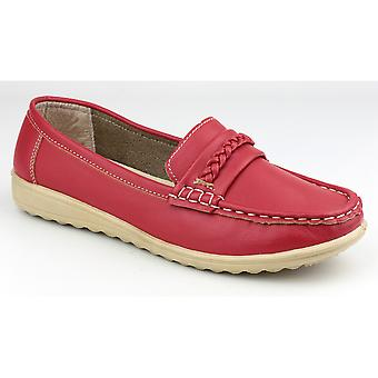 Amblers Ladies Thames Slip On mocassino stile scarpa rosso