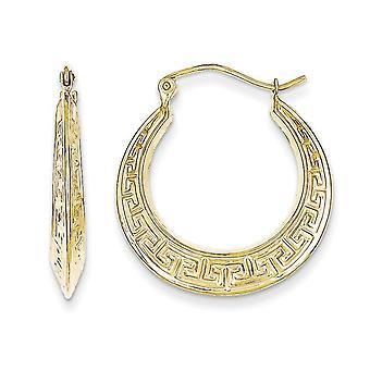 Greek Key Hoop Earrings in 10K Yellow Gold