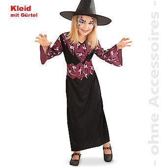 Hexe Kostüm Kinder Skull Magierin Zauberin Halloween Kinderkostüm