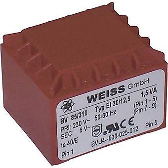 PCB mount transformer 1 x 230 V 1 x 12 V AC 1.50 VA 125 mA 85/312 Weiss Elektrotechnik