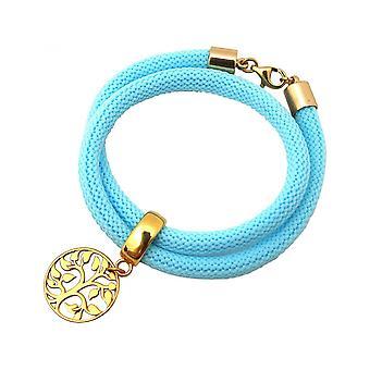 Blue - bracelet - bracelet - 925 Silver - gold plated - tree of life-