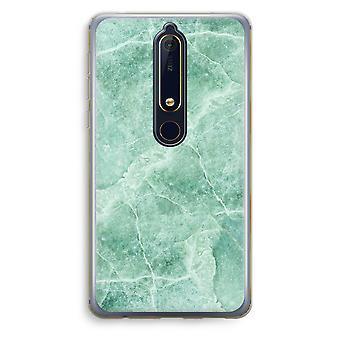 Nokia 6 (2018) gennemsigtig sag (Soft) - grøn marmor