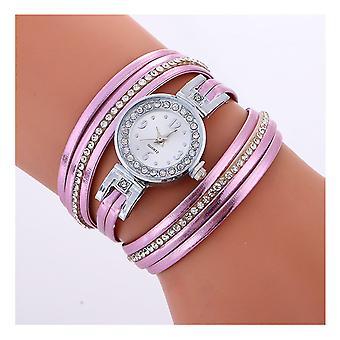 Ladies sølv se kvinner kvinne Smart klokker dobbel lilla smykker stropp