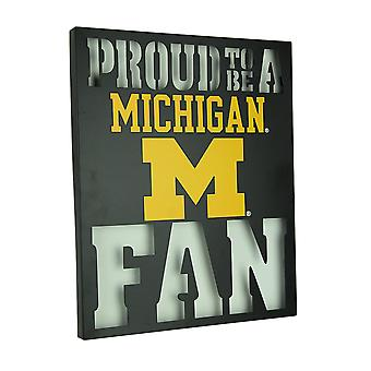 Proud To Be A Michigan Fan LED Lighted Cutout Metal Wall Sign